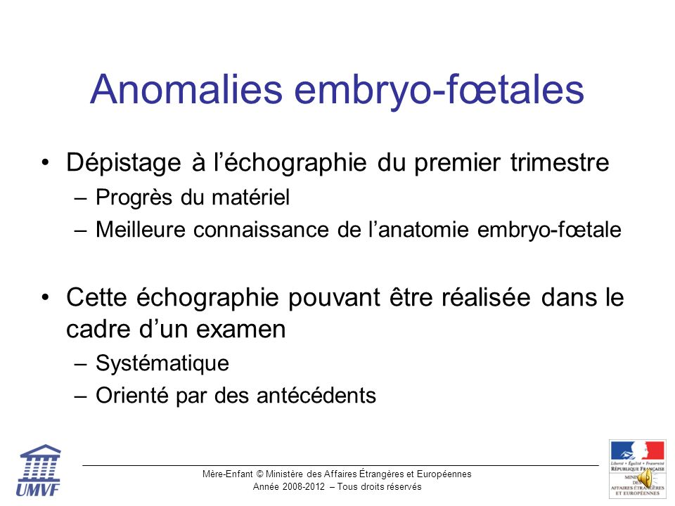 Anomalies embryo-fœtales