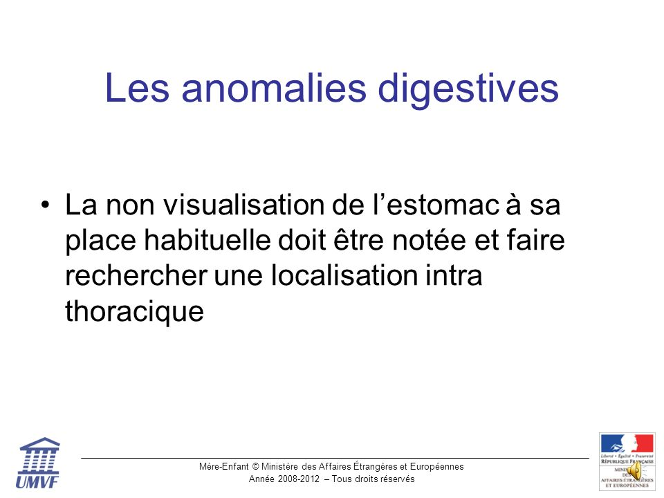 Les anomalies digestives