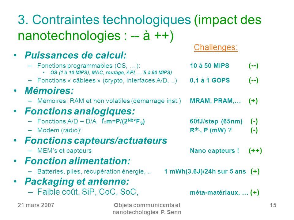 3. Contraintes technologiques (impact des nanotechnologies : -- à ++)