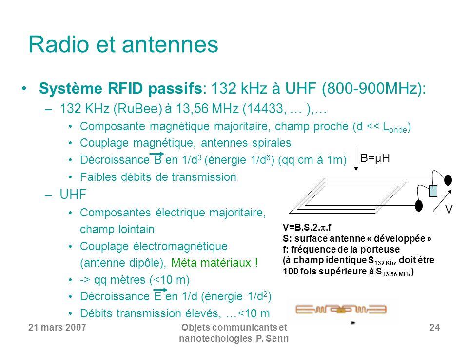 Objets communicants et nanotechologies P. Senn