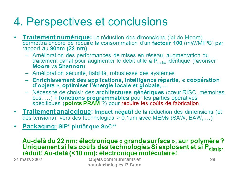 4. Perspectives et conclusions