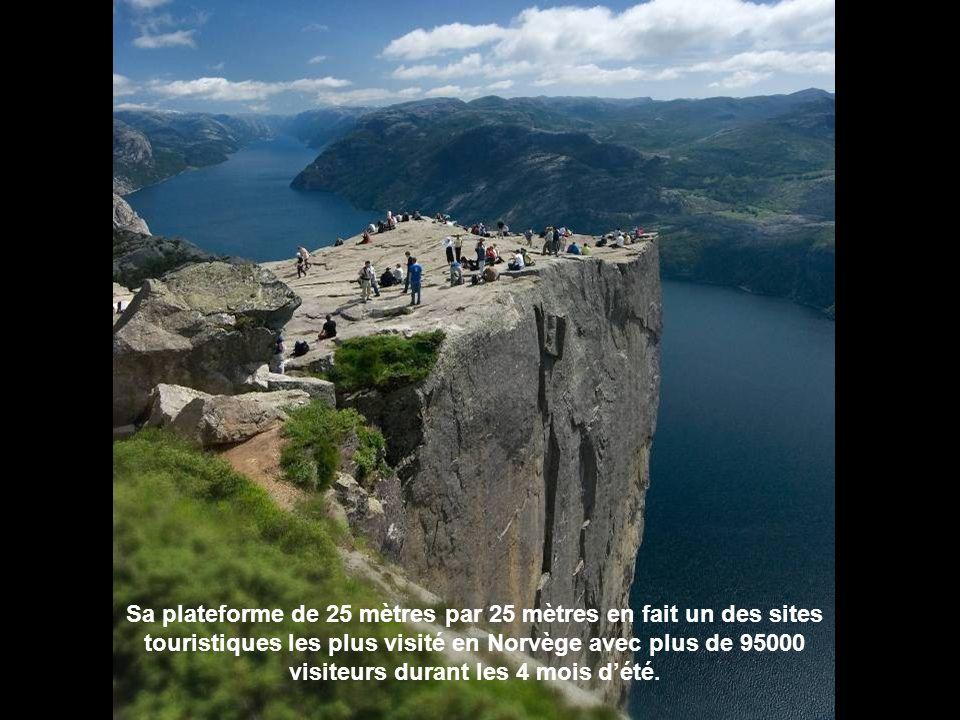 Sa plateforme de 25 mètres par 25 mètres en fait un des sites touristiques les plus visité en Norvège avec plus de 95000 visiteurs durant les 4 mois d'été.
