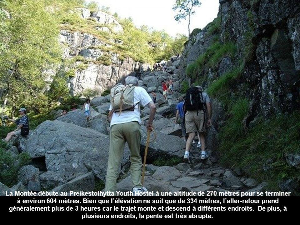 La Montée débute au Preikestolhytta Youth Hostel à une altitude de 270 mètres pour se terminer à environ 604 mètres.