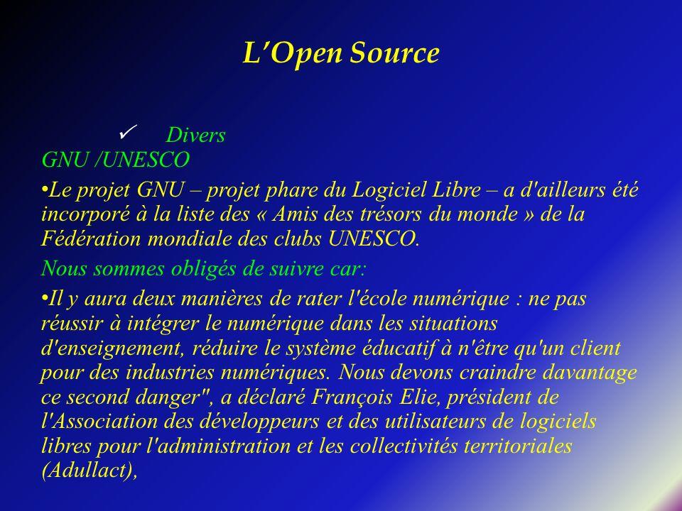L'Open Source  Divers GNU /UNESCO