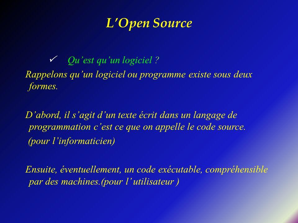 L'Open Source  Qu'est qu'un logiciel