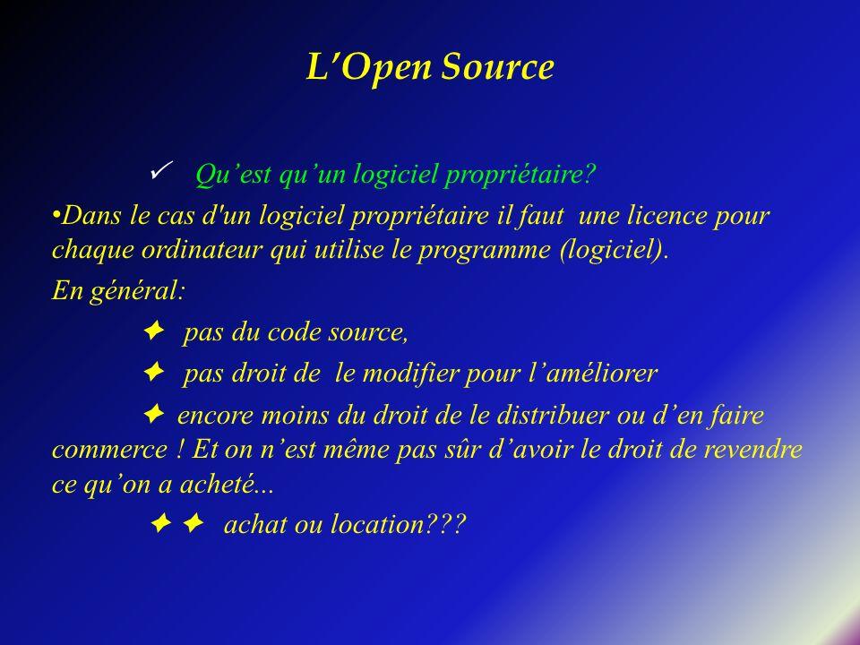 L'Open Source  Qu'est qu'un logiciel propriétaire