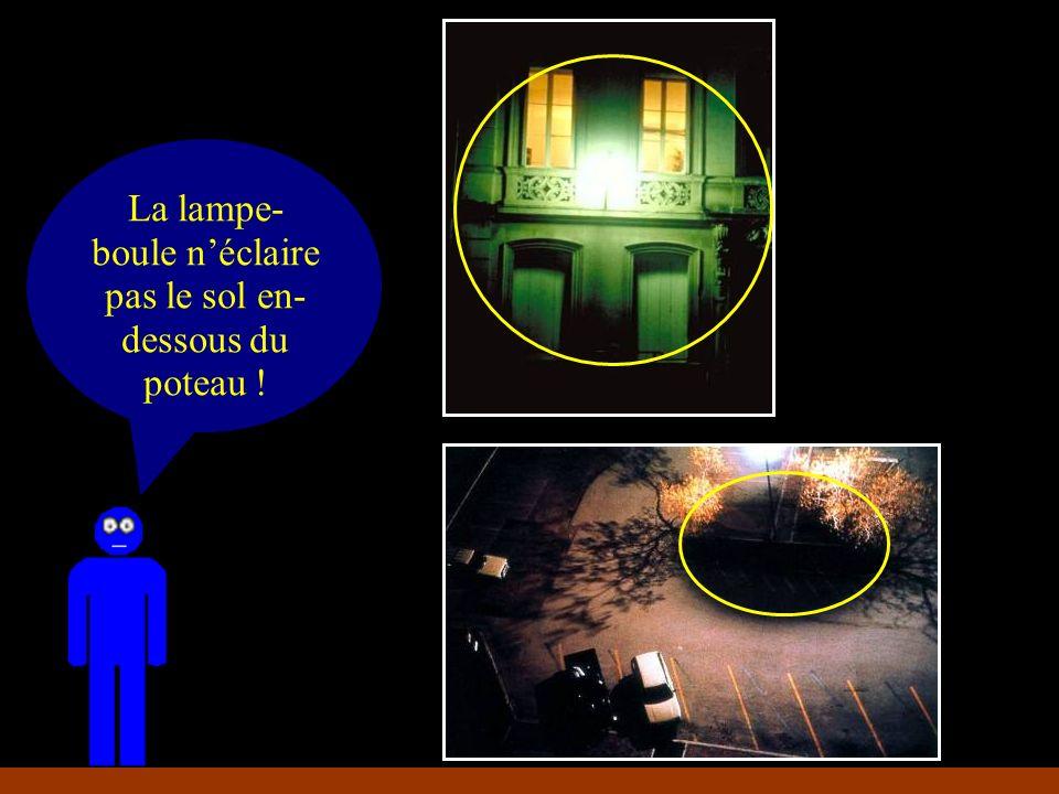 La lampe- boule éclaire mieux le mur que le sol