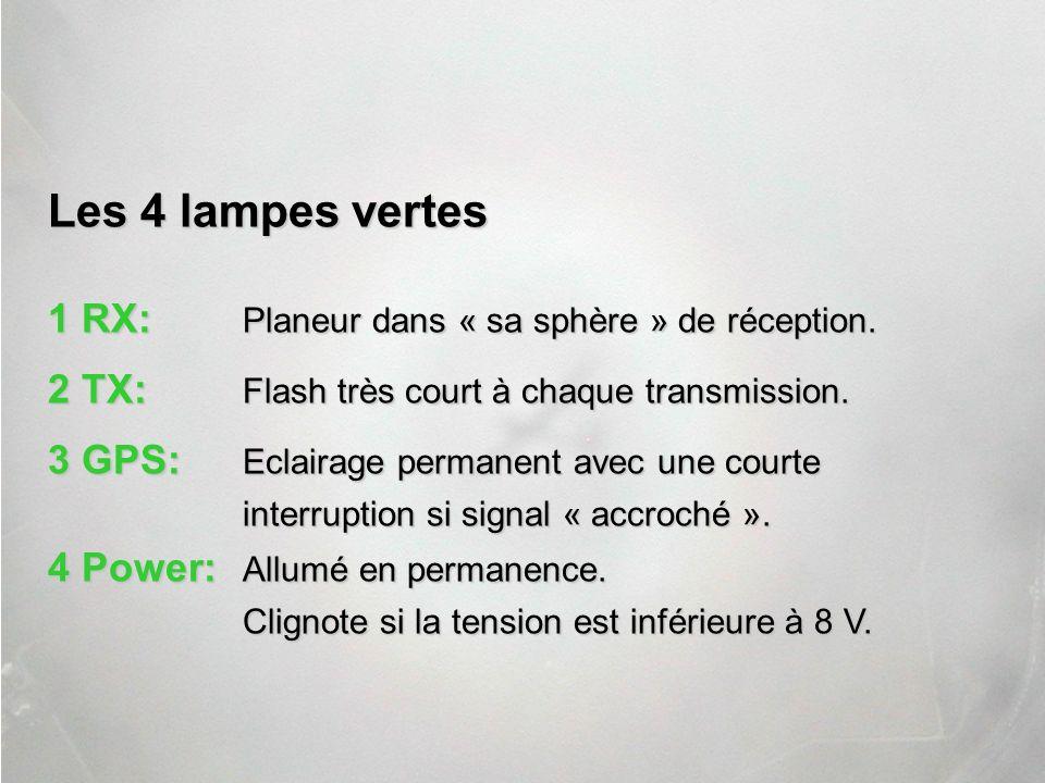 Les 4 lampes vertes 1 RX: Planeur dans « sa sphère » de réception.
