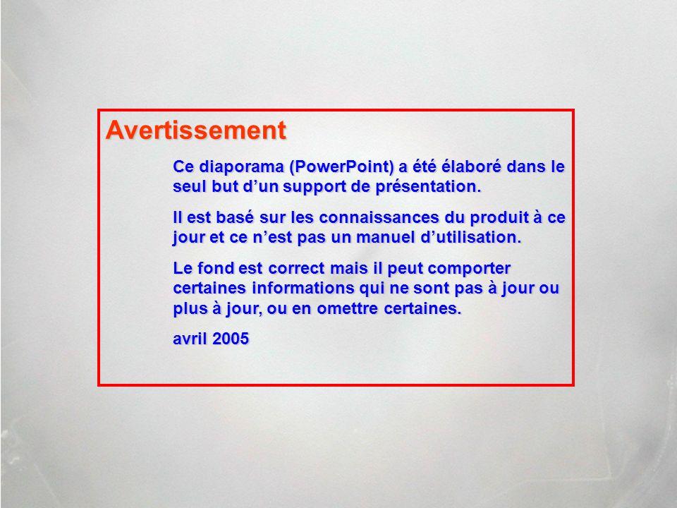 Avertissement Ce diaporama (PowerPoint) a été élaboré dans le seul but d'un support de présentation.