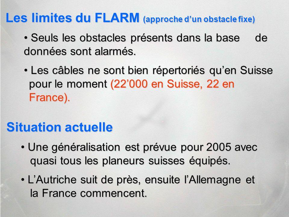 Les limites du FLARM (approche d'un obstacle fixe)