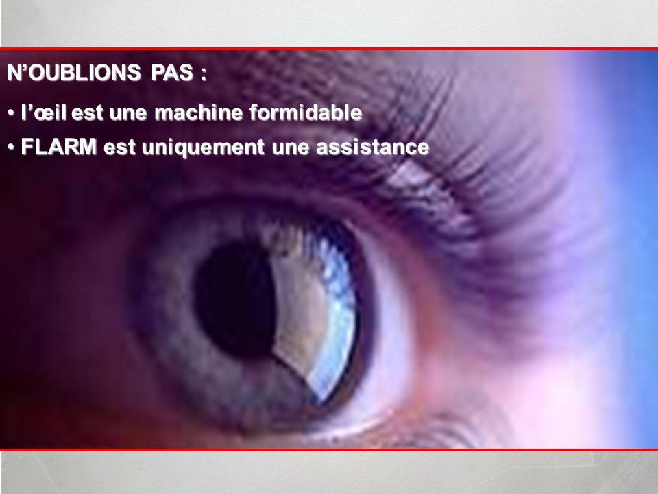 N'OUBLIONS PAS : l'œil est une machine formidable FLARM est uniquement une assistance