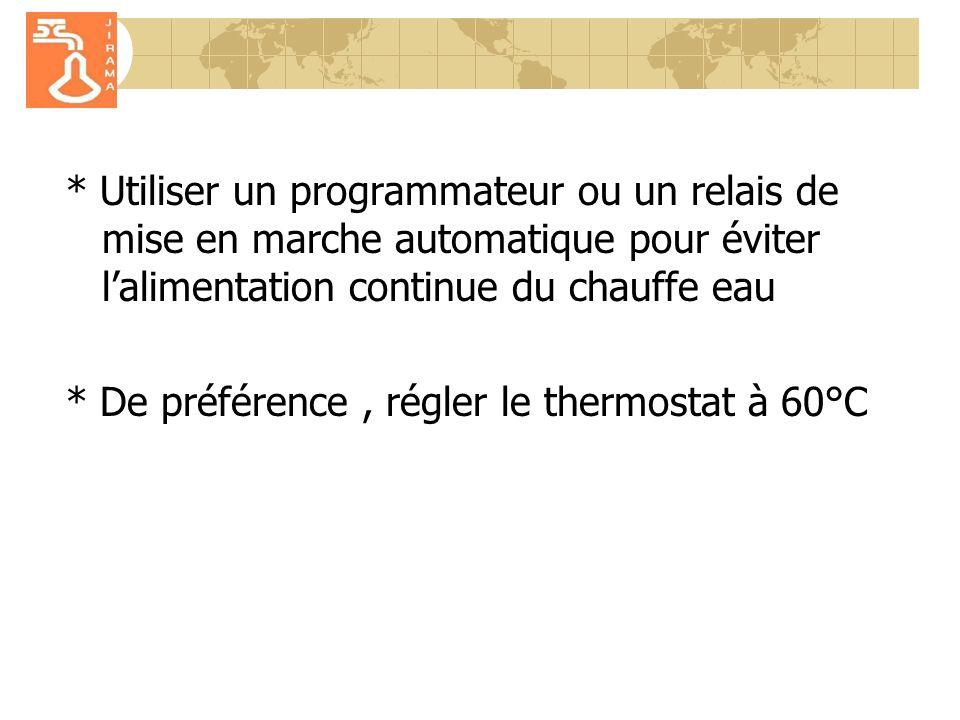 * Utiliser un programmateur ou un relais de mise en marche automatique pour éviter l'alimentation continue du chauffe eau