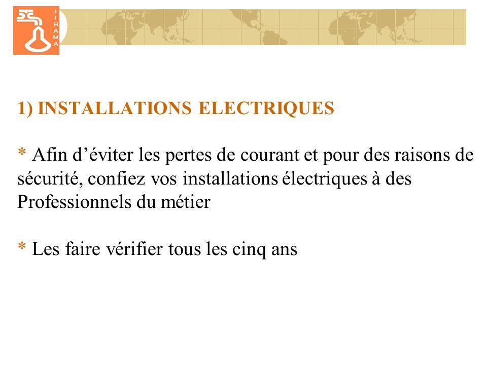 1) INSTALLATIONS ELECTRIQUES