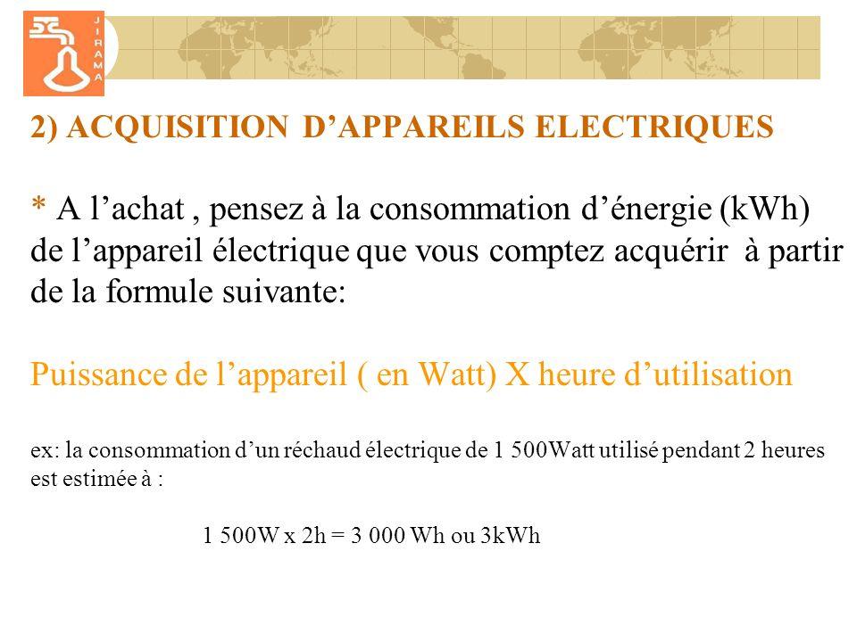 2) ACQUISITION D'APPAREILS ELECTRIQUES