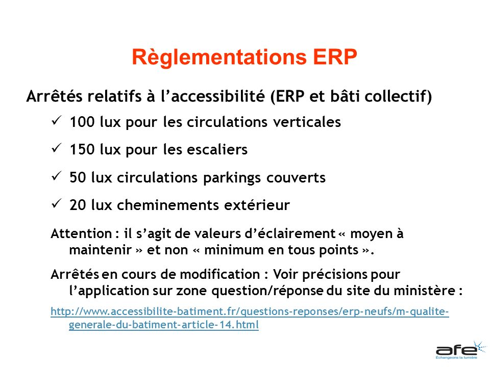 Règlementations ERP Arrêtés relatifs à l'accessibilité (ERP et bâti collectif) 100 lux pour les circulations verticales.