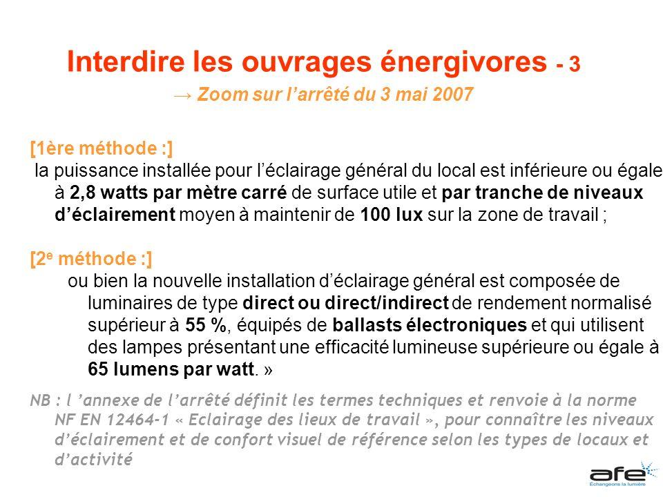 Interdire les ouvrages énergivores - 3 Zoom sur l'arrêté du 3 mai 2007