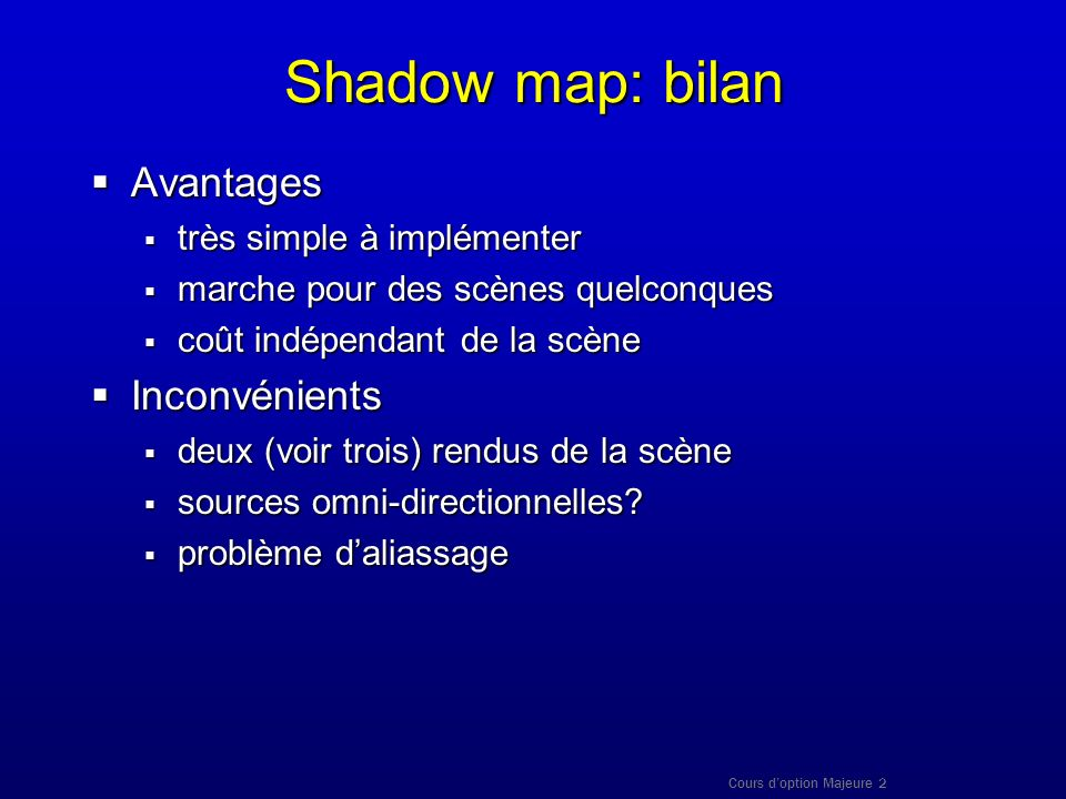 Shadow map: bilan Avantages Inconvénients très simple à implémenter