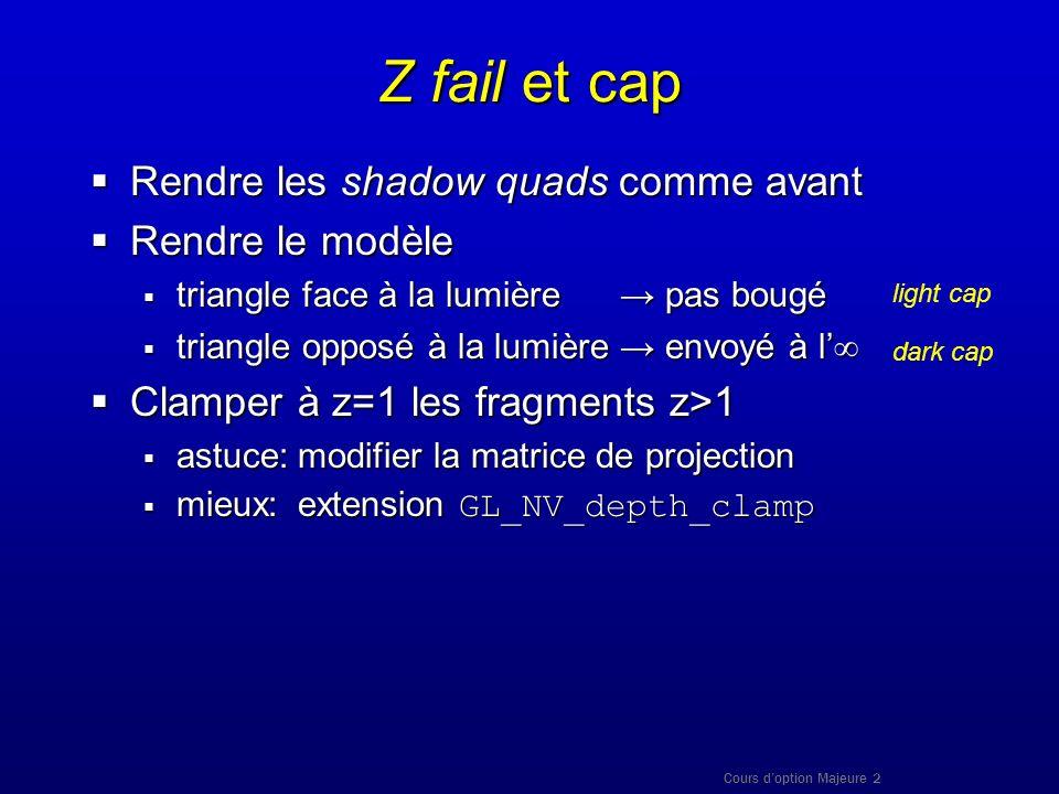 Z fail et cap Rendre les shadow quads comme avant Rendre le modèle