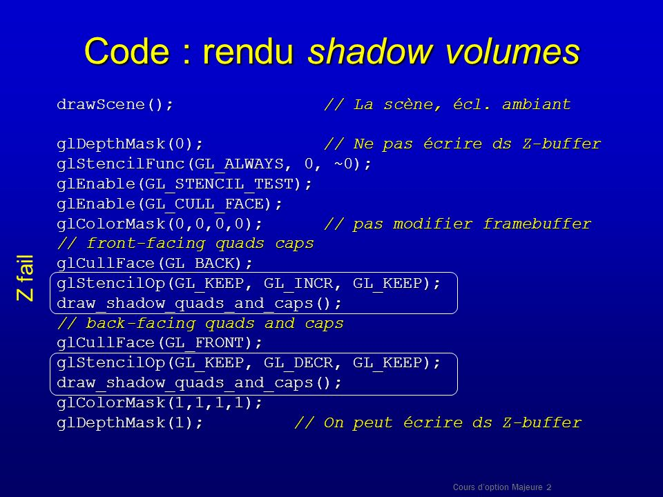 Code : rendu shadow volumes