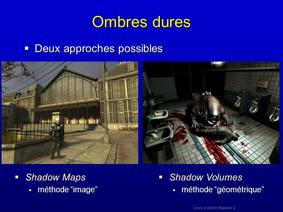 Ombres dures Deux approches possibles Shadow Maps Shadow Volumes