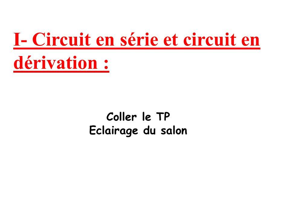 I- Circuit en série et circuit en dérivation :