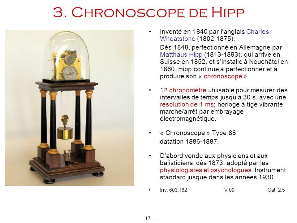 3. Chronoscope de Hipp Inventé en 1840 par l'anglais Charles Wheatstone (1802-1875).