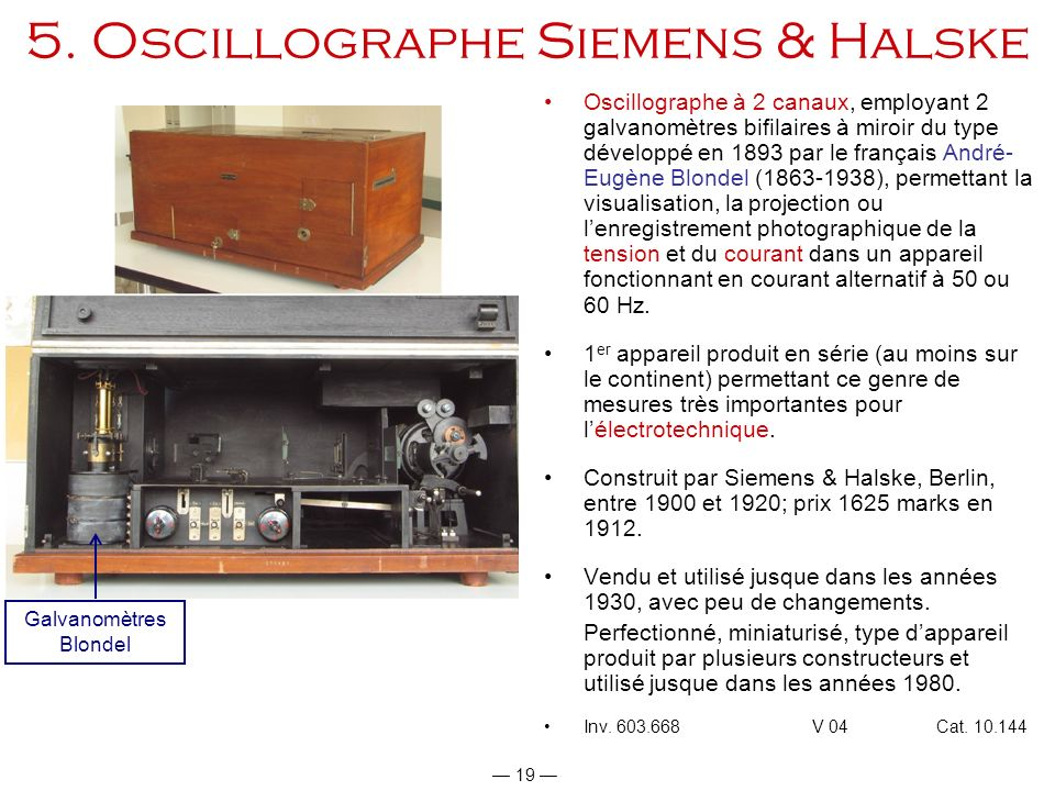5. Oscillographe Siemens & Halske