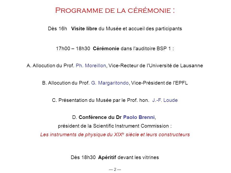 Programme de la cérémonie :