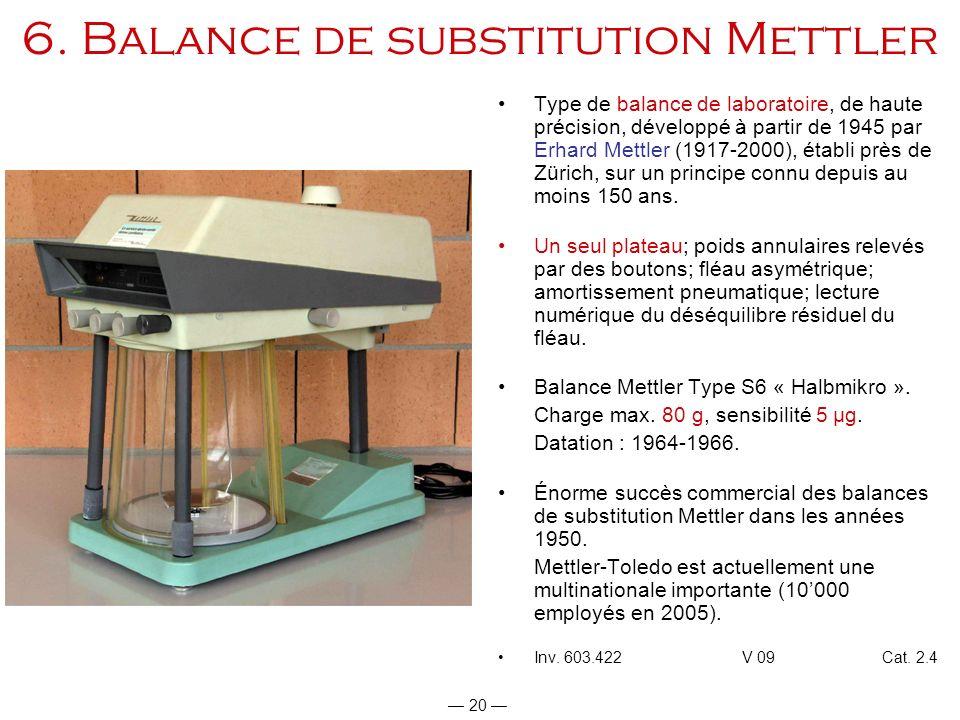 6. Balance de substitution Mettler