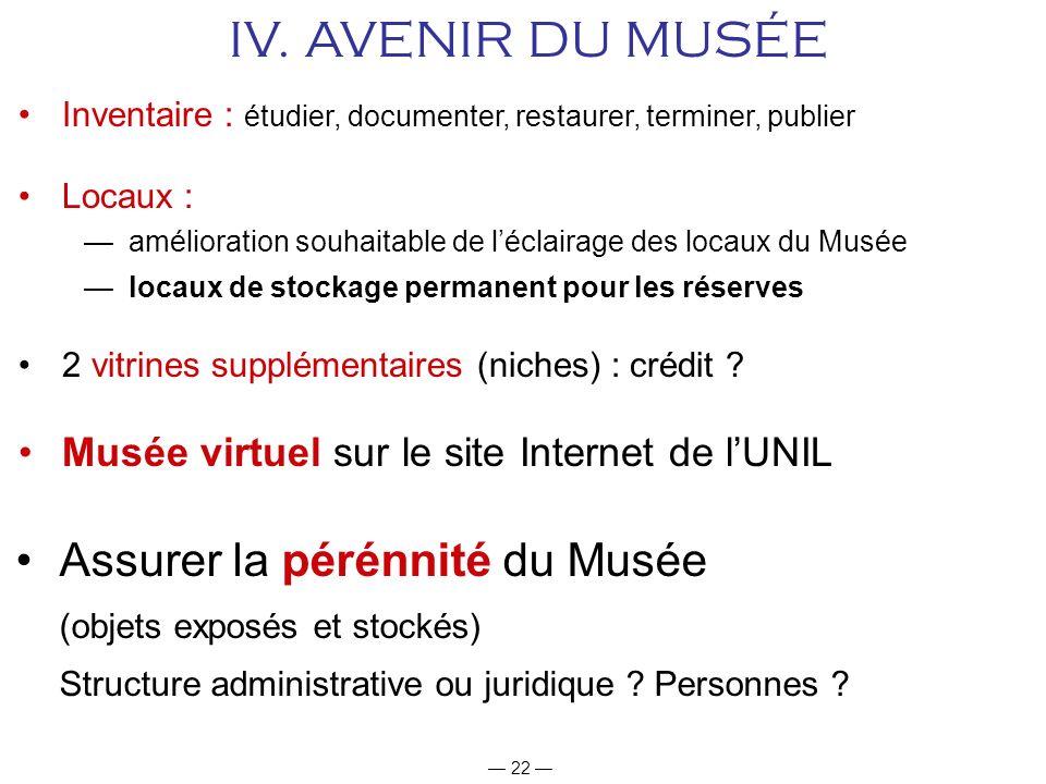 IV. AVENIR DU MUSÉE Assurer la pérénnité du Musée