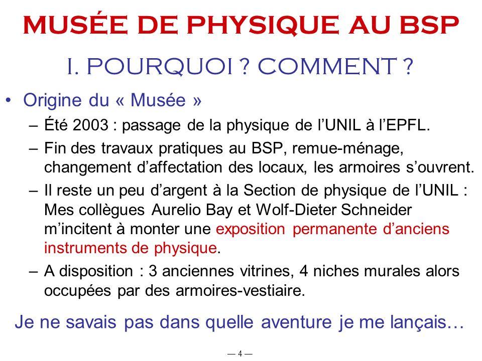 MUSÉE DE PHYSIQUE AU BSP