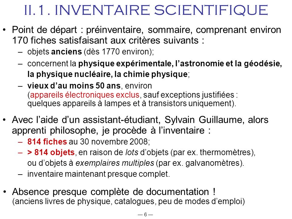 II.1. INVENTAIRE SCIENTIFIQUE