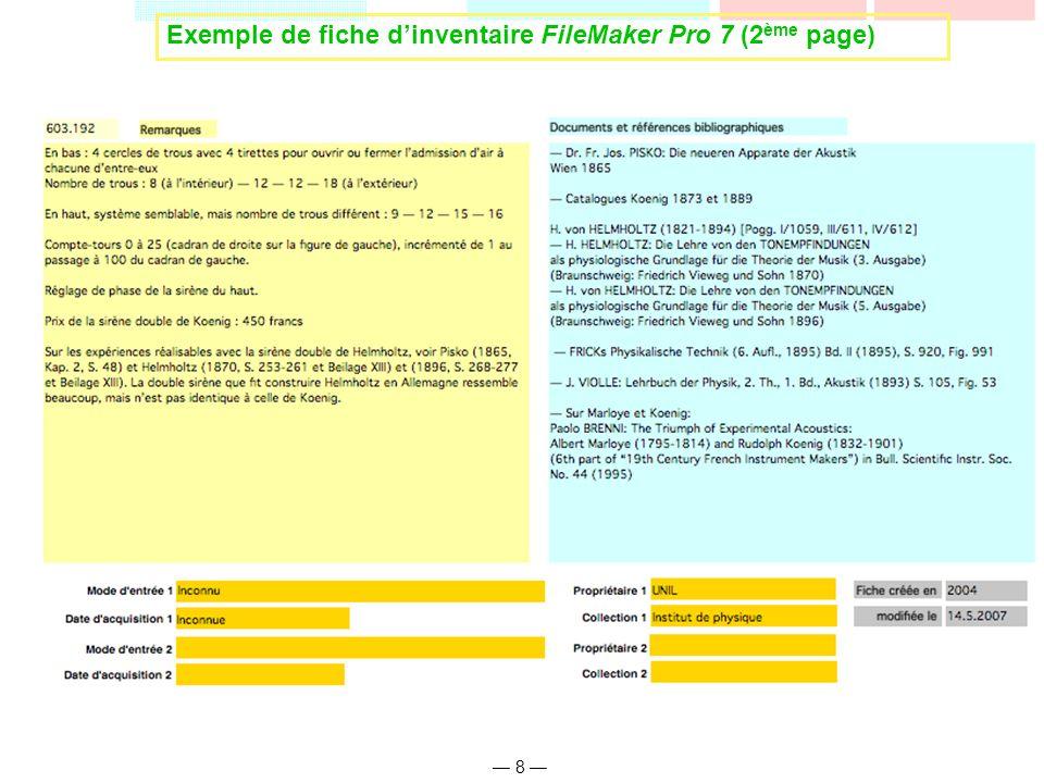 Exemple de fiche d'inventaire FileMaker Pro 7 (2ème page)