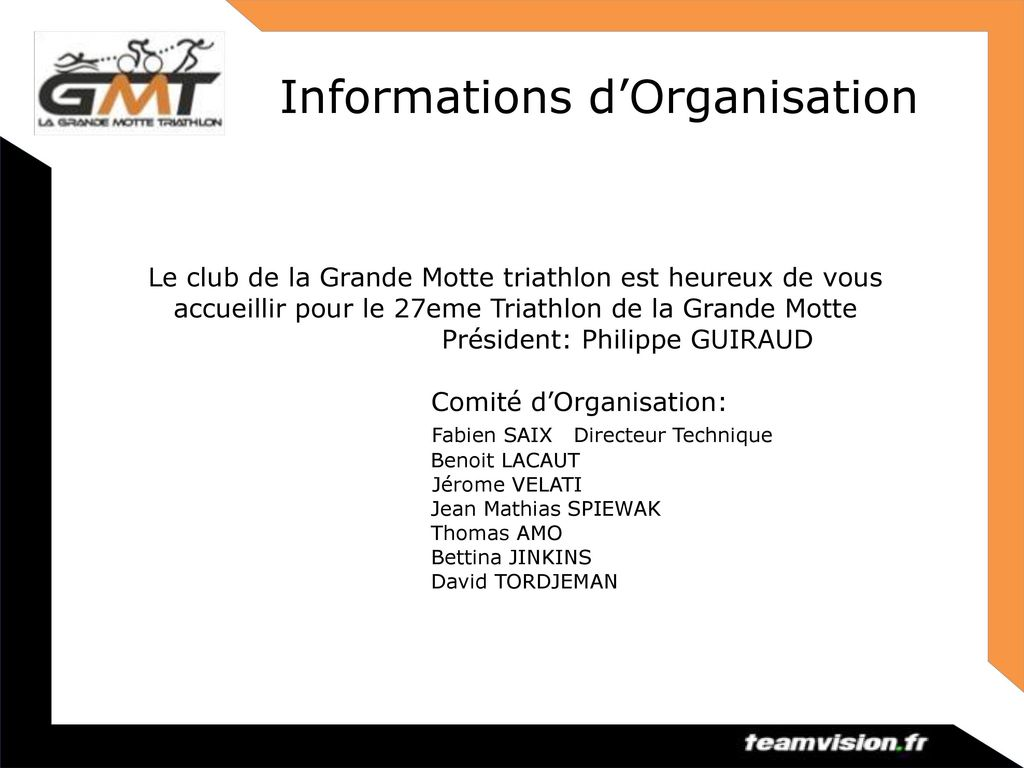 Informations d'Organisation