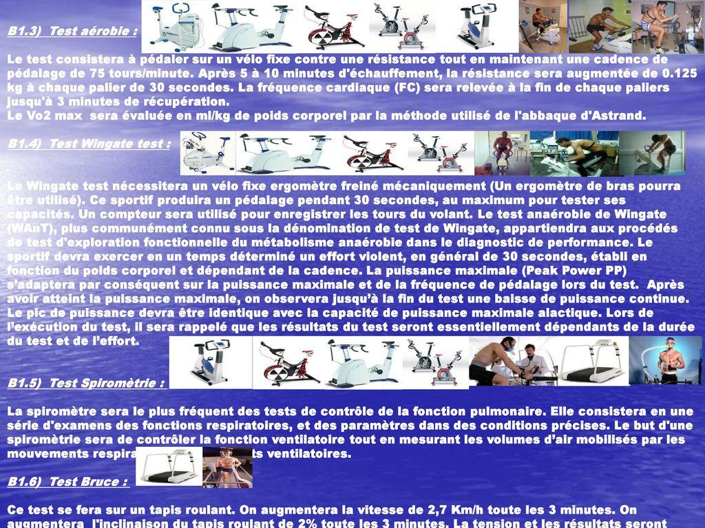 Dossier m mento complet des exercices de cardio training ppt t l charger - Test vo2max sur tapis roulant ...