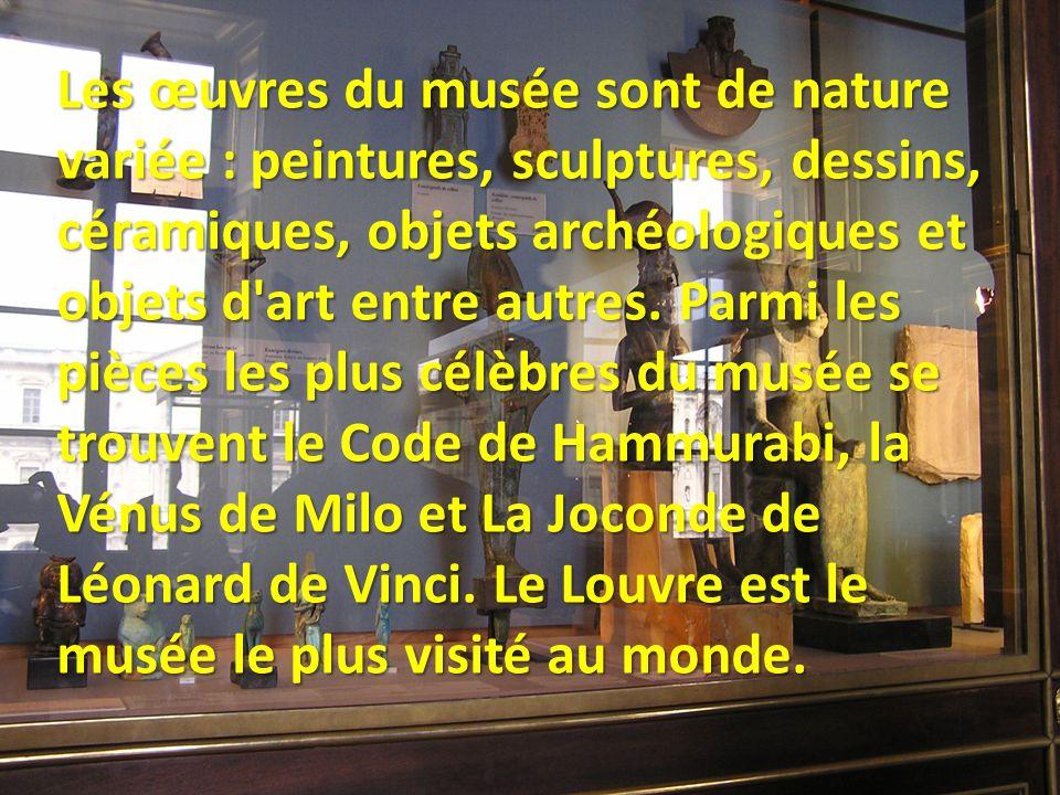 Les œuvres du musée sont de nature variée : peintures, sculptures, dessins, céramiques, objets archéologiques et objets d art entre autres.