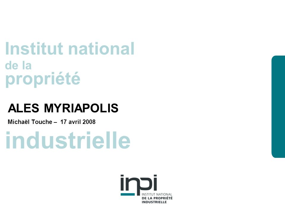 industrielle Institut national propriété ALES MYRIAPOLIS de la