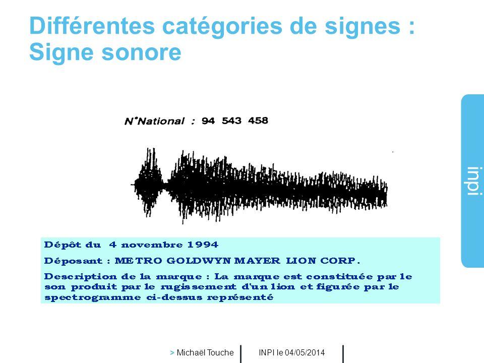 Différentes catégories de signes : Signe sonore