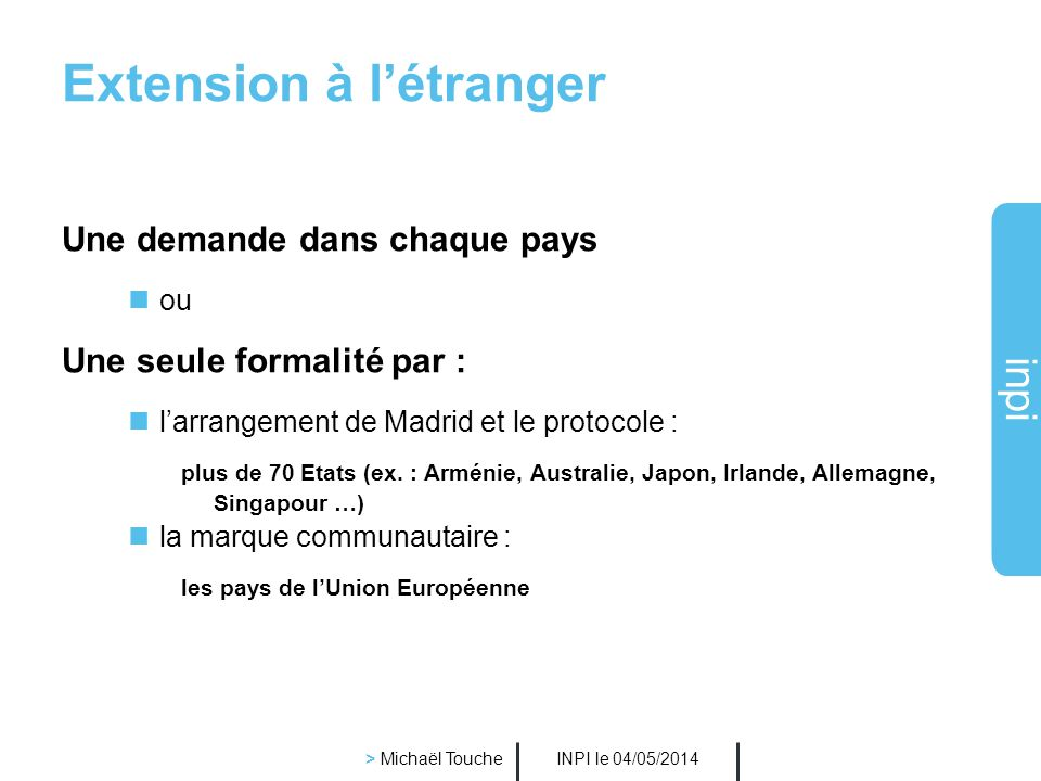 Extension à l'étranger