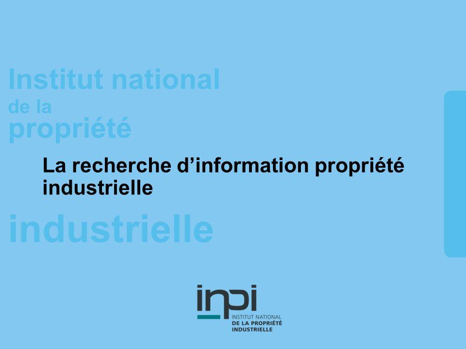 La recherche d'information propriété industrielle