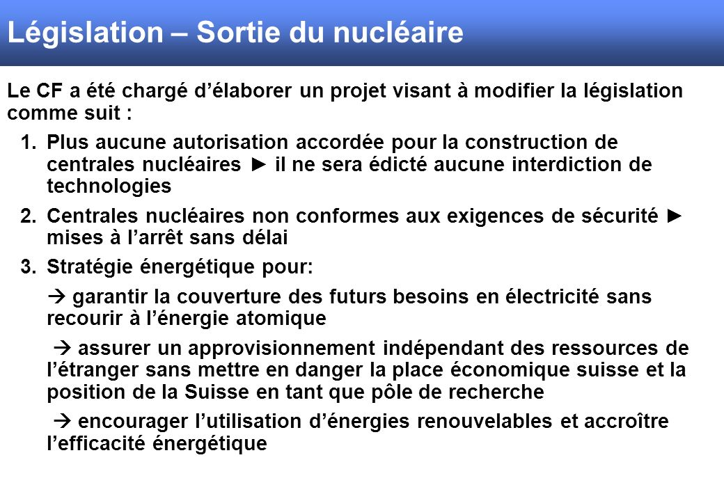 Législation – Sortie du nucléaire