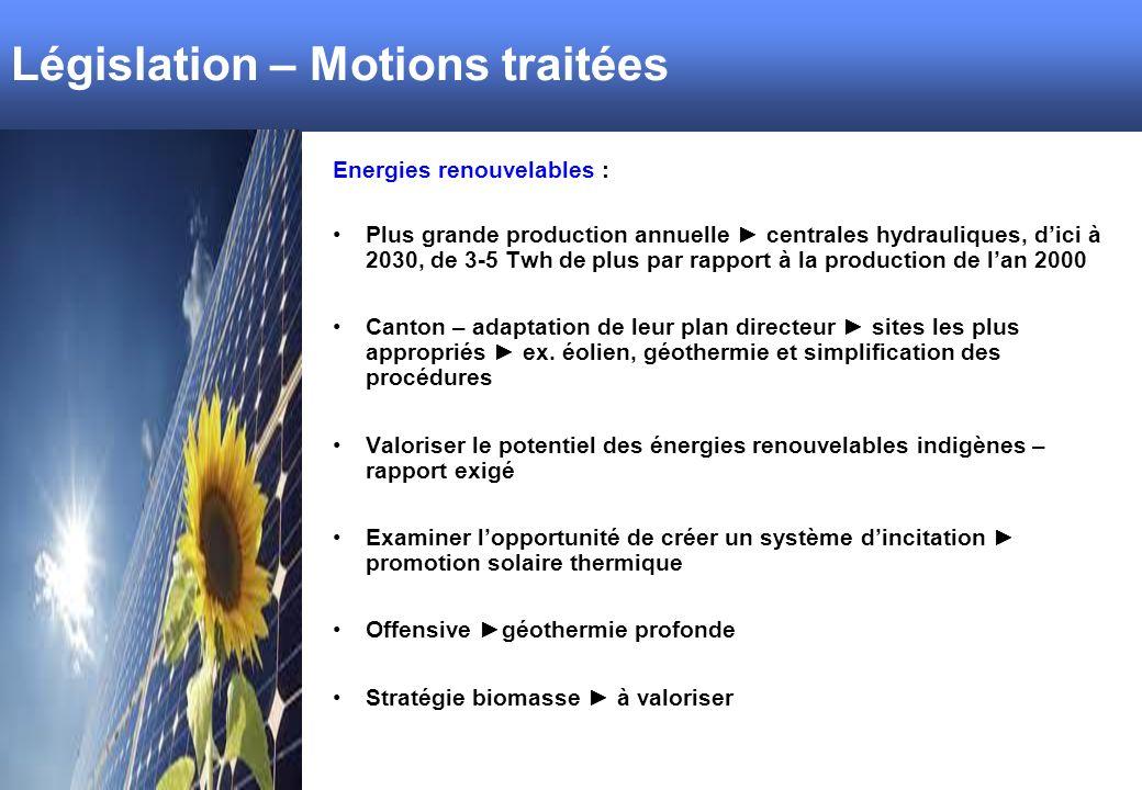 Législation – Motions traitées