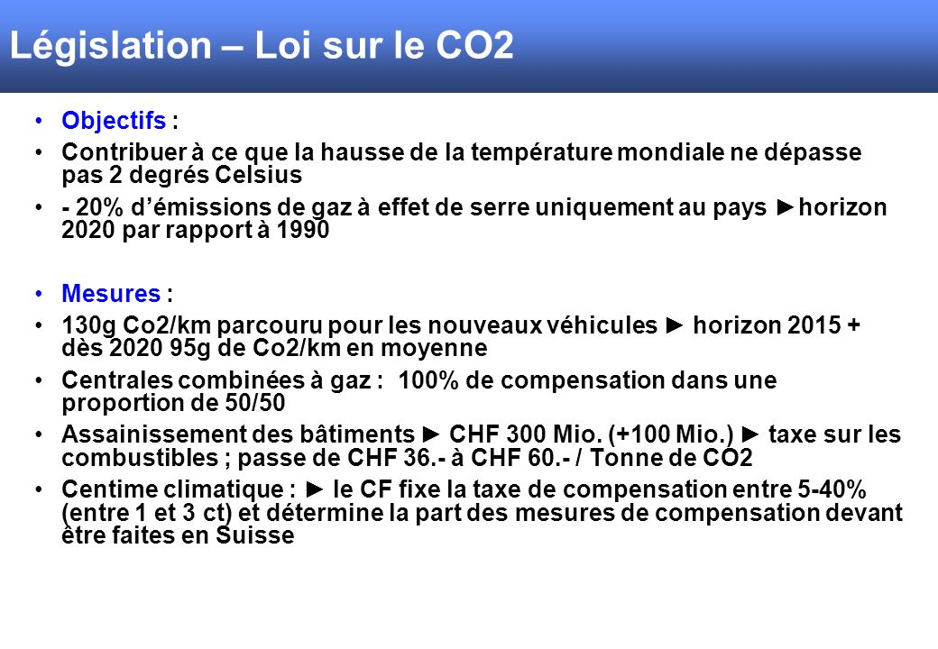 Législation – Loi sur le CO2
