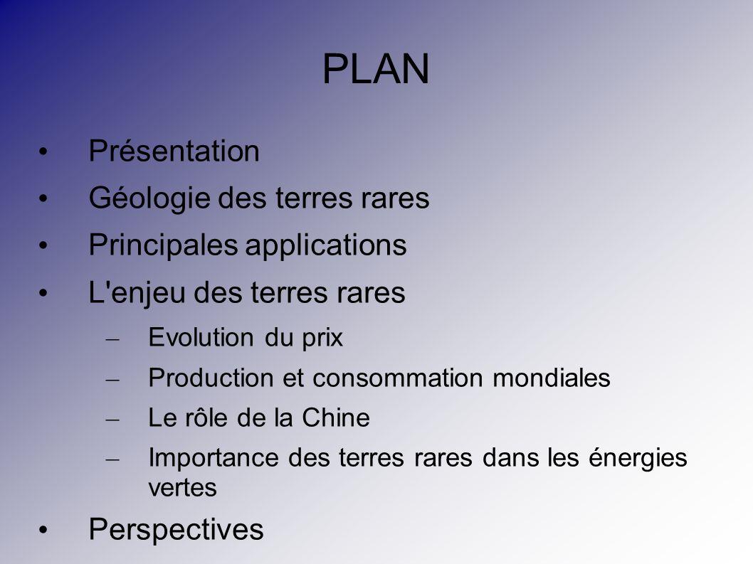 PLAN Présentation Géologie des terres rares Principales applications