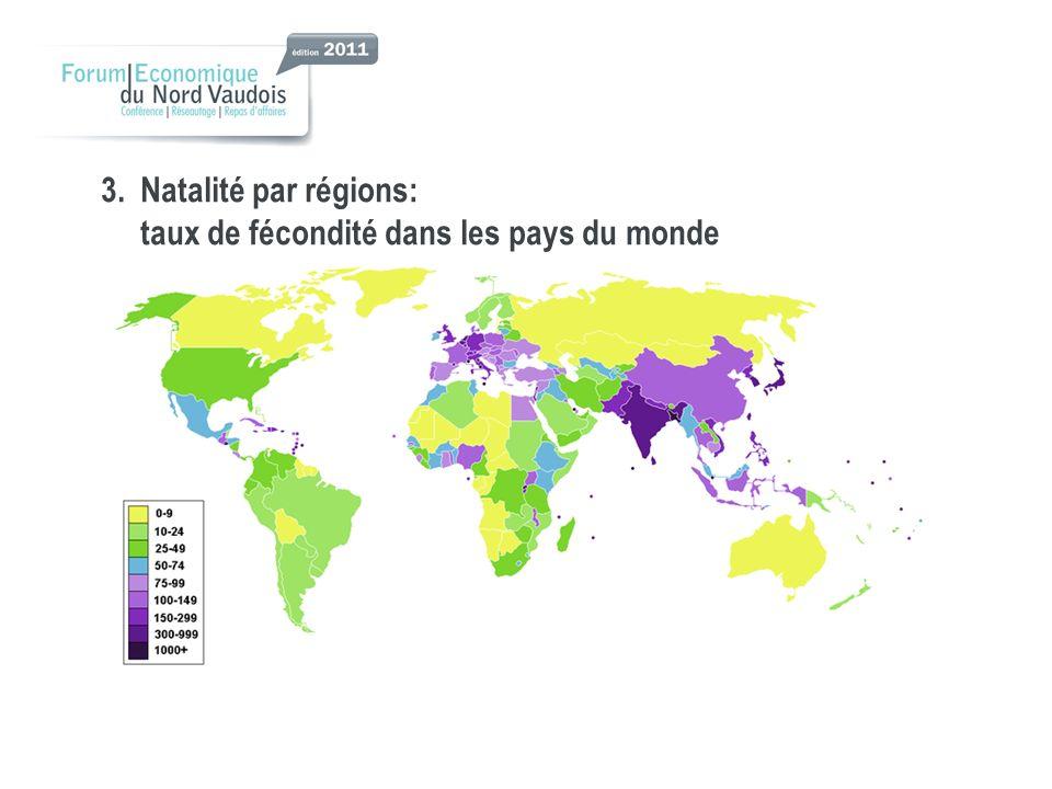 3. Natalité par régions: taux de fécondité dans les pays du monde