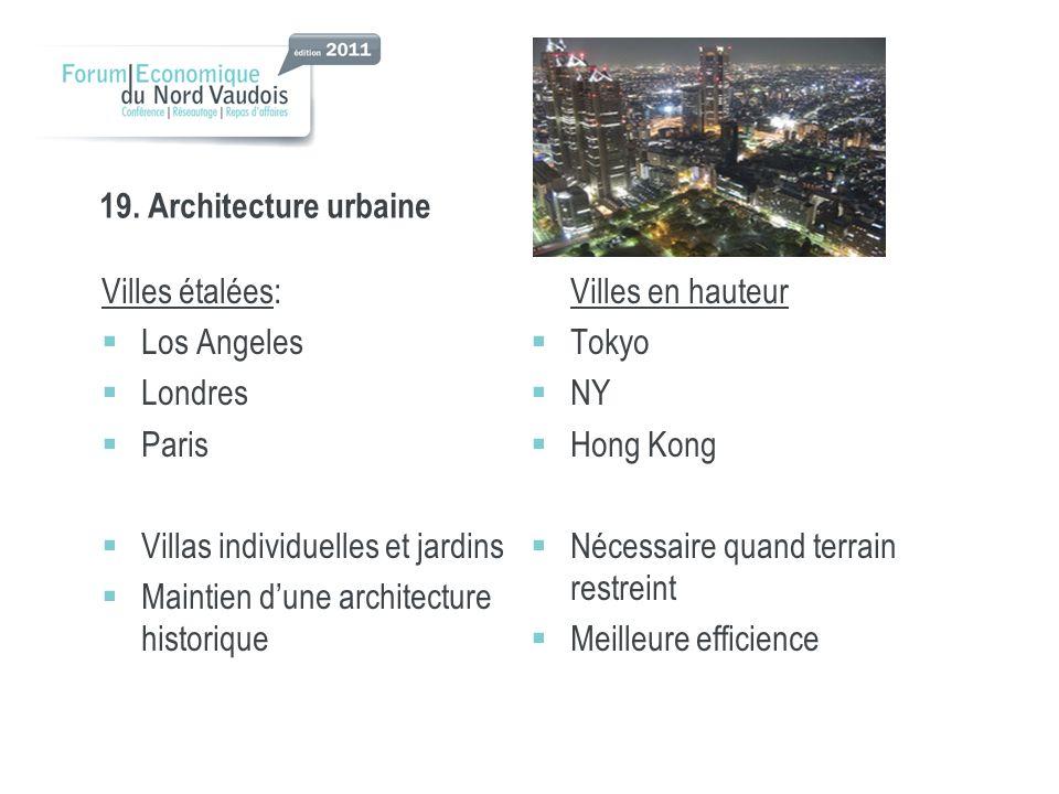 19. Architecture urbaine Villes étalées: Maintien d'une architecture historique Villes en hauteur.