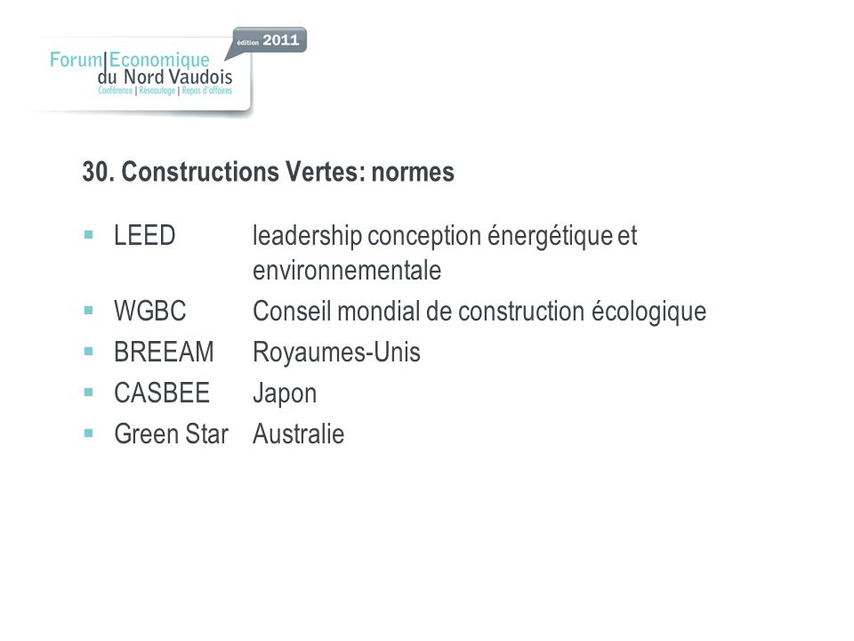 30. Constructions Vertes: normes