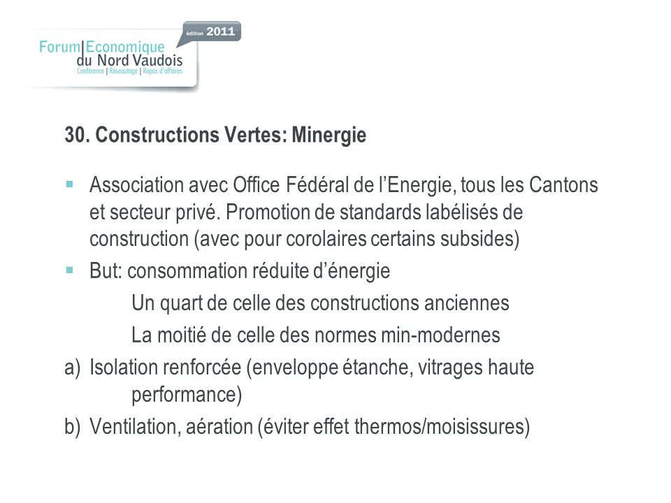 30. Constructions Vertes: Minergie