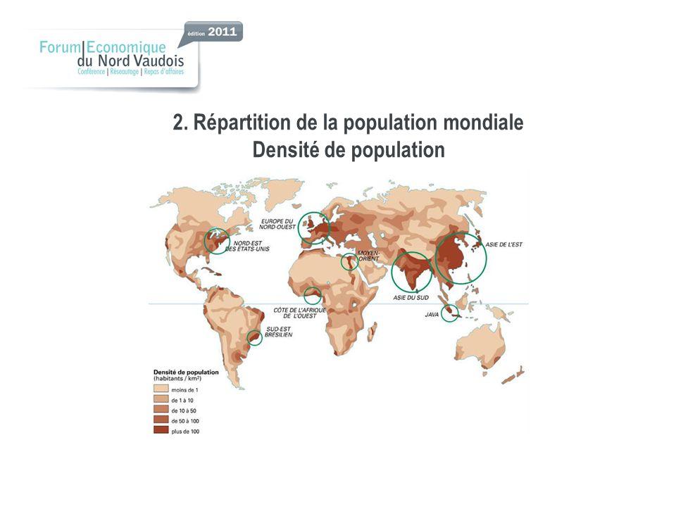 2. Répartition de la population mondiale Densité de population