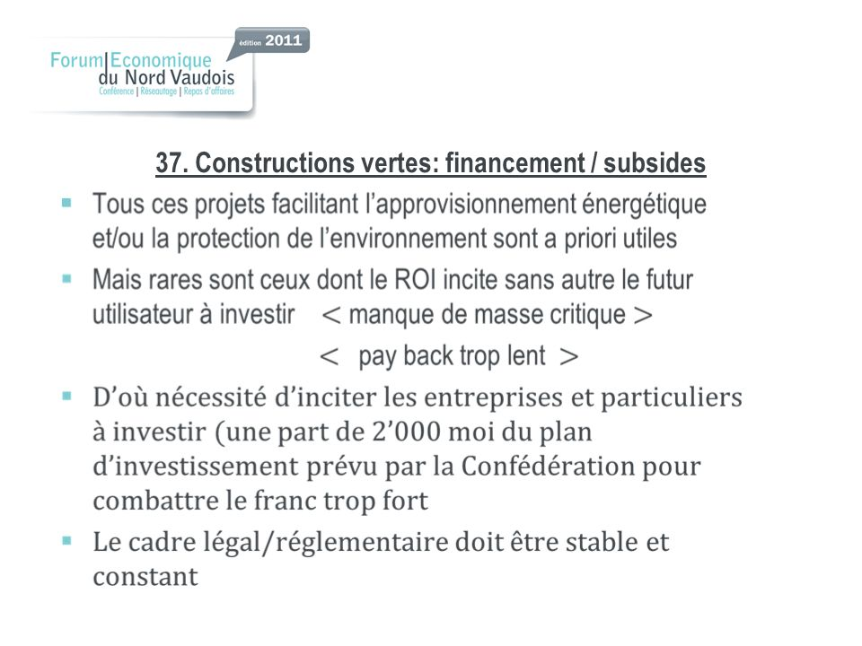 37. Constructions vertes: financement / subsides